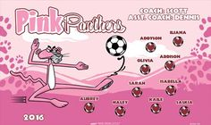 Pink Panthers B51866-1of2  digitally printed vinyl soccer sports team banner. Made in the USA and shipped fast by BannersUSA.  You can easily create a similar banner using our Live Designer where you can manipulate ALL of the elements of ANY template.  You can change colors, add/change/remove text and graphics and resize the elements of your design, making it completely your own creation.