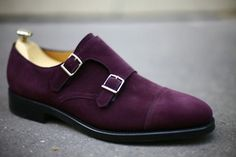 John Lobb By Request William in Aubergine Suede - Named after its creator, William Lobb, the iconic monk shoe boasts a twin-stitched toe cap and signature double buckle. | Available at http://www.johnlobb.com/us/by-request