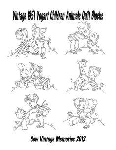 1951 Vogart Baby Children Animals 6 Designs Hand Embroidery Baby Quilt #ReprintsbySewVintageMemories