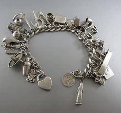 Vintage Sterling Silver charm bracelet by Gmomma Vintage Charm Bracelet, Sterling Silver Charm Bracelet, Silver Bracelets, Silver Charms, Silver Ring, Silver Earrings, Jewelry Bracelets, Bracelet Charms, Jewlery