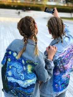 0c0406a6af1 Hand painted custom denim jacket Claude Monet water Lilies. Van Gogh Starry  Night impressionism famo
