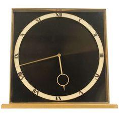 1stdibs   Kienzle Heinrich Möller Design 8 Days Desk Clock Bronze Art Deco Modernist