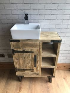 Reclaimed rustic industrial vanity unit with sink - This reclaimed bathroom vanity unit for use with counter top sinks will add a touch of rustic indus - Industrial Bathroom Vanity, Bathroom Sink Units, Rustic Vanity, Diy Bathroom Vanity, Rustic Bathroom Vanities, Rustic Bathrooms, Vanity Sink, Bathroom Furniture, Luxury Bathrooms
