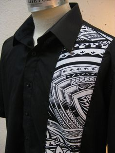 Aloha Shirt Black With Samoan Tattoo Print LAST ONE by LuckyZelda