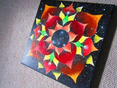 Self and Spirit original, Star Flower Mandala universe Painting -- Acrylic Paint on Canvas, space artwork, 12 x12 op Etsy, 49,03€