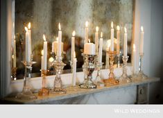 Candles and glass...maybe across the mantle