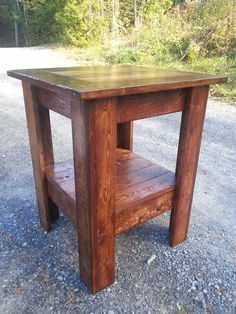My version of a pallet wood side table.
