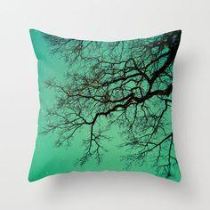 Pillow Cover Magical Night Tree Dark Teal Fairytale by StudioYuki, $35.00