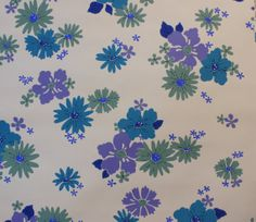 1970's Vintage Wallpaper Blue Purple and by kitschykoocollage