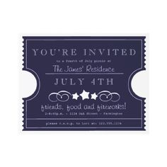 4th of July Ticket Invitation by LetterBoxInk