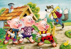 The Three Little Pigs and the Big Bad Wolf Reader's Theater Script by Kelly B Chico Yoga, Pig Illustration, Wolf Photos, Readers Theater, Pig Party, Big Bad Wolf, Three Little Pigs, Yoga For Kids, Kid Yoga