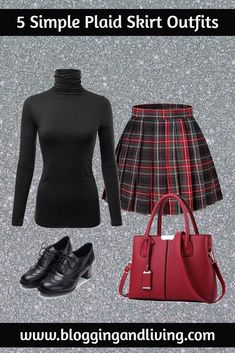 If you love plaid skirts, then you should check out my 5 simple ways that you can wear a plaid skirt outfit! Check them out and wear these yourself! Casual Outfits For Teens, Trendy Outfits, Fashion Outfits, Fashion Trends, Fashion Ideas, Fashion Tips, Grunge Outfits, Grunge Fashion, Fashion Group