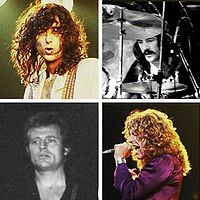 A square quartered into four, each with a head-shot photograph of each of the four members of Led Zeppelin. Led Zeppelin Discography, Led Zeppelin Songs, Led Zeppelin Ii, John Bonham, John Paul Jones, Jimmy Page, Robert Plant, Hard Rock, Rock And Roll History