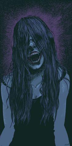 The Slit Mouthed Woman Kuchisake Onna, Japanese Urban Legends, Horror Cartoon, Yuki Onna, Japanese Monster, Female Vampire, Zombie Art, Occult Art, World Of Darkness