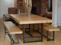 My 4 Misters Their Sister Diy Handmade Farmhouse Table And Benches With Matching Breakfast Bar Bench Pallet Wood Pinterest