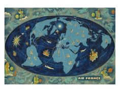 Air France World Map Planisphere c.1959 Giclee Print by Lucien Boucher at Art.com