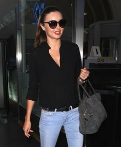Supermodel Miranda Kerr arriving on a flight at LAX airport in Los Angeles, California on October Top Models, Flight Outfit, Miranda Kerr Style, Cute Celebrities, Pretty People, Beautiful People, Business Women, Jeans, Passion For Fashion