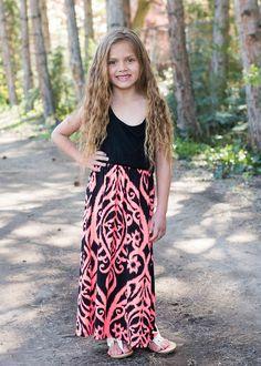 Damask Maxi Dress, Online shopping, online boutique, Ryleigh Rue, Dress, Kids Clothing , Dress, Maxi Dress, Damask Dress, Maxi Dress, Tank Dress, Pink and Black Dress, Cute, Fashion
