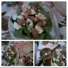 Spinach, egg, tomato salad with homemade dressing