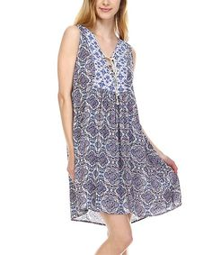 Love this Gray Arabesque Lace-Up Sleeveless Dress on #zulily! #zulilyfinds