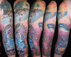 Underwater sleeve, shark octopus, turtle, sunset, clam, puffer