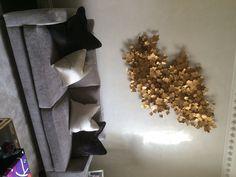 Hand-crafted leaves wall sculpture #interiordesign #luxury #lighting #nature #livingroom