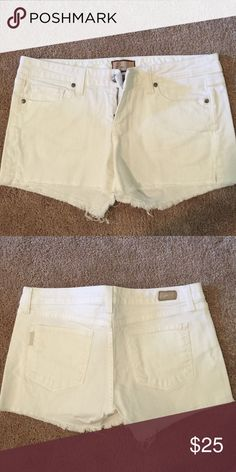 Paige white denim shorts - Size 29 Adorable white denim Paige shorts l. Fits a little small - would recommend for a size 28. In perfect condition with no stains Paige Jeans Shorts