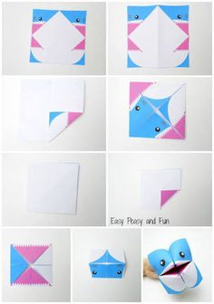 Cootie Catcher - Origami for Kids Shark Cootie Catcher - Origami for Kids - Easy Peasy and FunShark Cootie Catcher - Origami for Kids - Easy Peasy and Fun Origami Shark, Instruções Origami, Kids Origami, Origami Dragon, Useful Origami, Origami Animals, Origami Folding, Kids Crafts, Projects For Kids