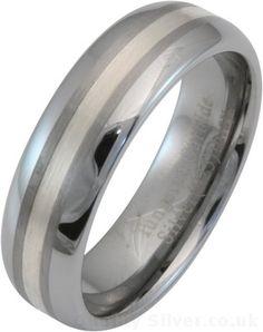 7mm Men's Silver Inlay Tungsten Carbide Wedding Ring