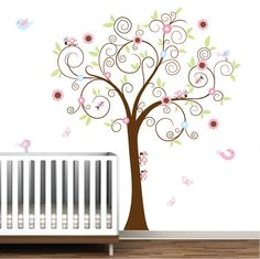 Vinyl Wall Decal Tree with Ladybugs-Nursery Wall Vinyl Decals. $99.00, via Etsy.