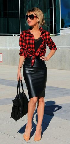 red corduroy shirt, black leather #fall #outfits women's black and red checkered button-up shirt with black skirt