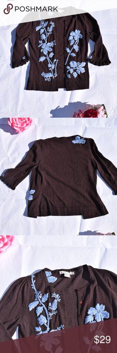 """Nanette Lepore Embroidered Cardigan Nanette Lepore Embroidered Cardigan  Brand: Nanette Lepore (Sold at Nordstrom and Neiman Marcus) Size: Medium  Color: Brown, Light Blue Embroidery Flower Buttons ¾ Ruffled Sleeves Embroidered Flowers Care Tag Blank but it feels like wool Length: 20.5"""" Measured from highest point of shoulder to hem Bust: 14"""" Measured Armpit to Armpit Laying Flat Nanette Lepore Sweaters Cardigans"""
