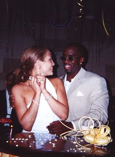Jennifer Lopez and Puff Daddy at her suprise 31st birthday party, 2000
