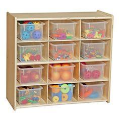 Wood toy organizer with clear bins.