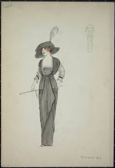 """Dress, Callot, summer 1912. Long grey dress; bodice trimmed in white; white 3/4 length sleeves; matching grey hat with deep brim and feather; parisol; back view included. (Bendel  Collection, HB 001-20)"", 1912. Fashion sketch, 12.25 x 8.5 in (31.1 x 21.6 cm). Brooklyn Museum, Fashion sketches. (Photo: Brooklyn Museum, SC01.1_Bendel_Collection_HB_001-19_1912_PS5.jpg)"