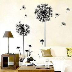 New Black&White DIY Wall Sticker Wall Decals Art Removable Dandelion Mural Home Decor newlylife