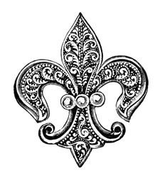 vintage brooch clipart, fleur de lis clip art, antique brooch with pearls, old fashioned jewelery image, victorian jewellery illustration Art Vintage, Vintage Images, Vintage Prints, Vintage Black, Vintage Clip, Tattoo Fleur, Foto Transfer, Jewelry Illustration, Monogram