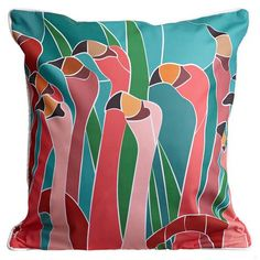 Flamingo Walk PillowSize:20x20Color: Multi-color.Material:100% Polyester, pre-shrunk.Details: Double-sided print withpiping and invisible zipper.Insert: Polyfill.Care:Spot clean or machine wash with mild detergent on delicate cycle, air dry. Do not tumble dry. Do...