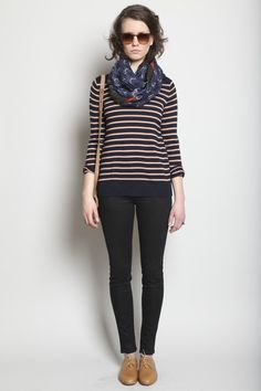 patterned scarf, stripes, black jeans, boots