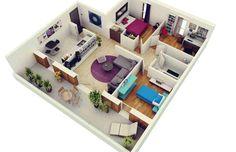 denah rumah minimalis 2 kamar dan 1 ruang kerja