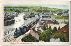 See on ebay: http://ebay.to/1xeoFm0  This is a very nice aerial view postcard of the Santa Cruz railroad station in 1908. It's published by Richard Behrendt of San Francisco and is from the divided back era although it shows a white border. The condition is good, the corners and edges are worn. The postcard is used and postmarked 1908. Please examine photos for detailed view
