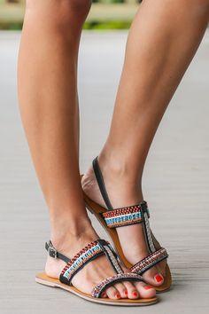 Take Me To The Keys Black Beaded Sandals at reddressboutique.com
