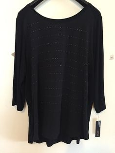 Freeshipping NWT Apt.9 Plus 2x Black Scoop Neck Knit Woven TunicTop #Apt9 #Tunic