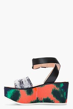 KENZO Orange printed snakeskin Flatform Sandals