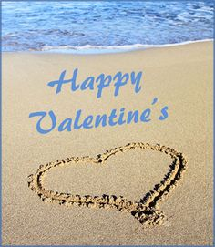 Toes in the Sand Sayings | Modern Valentines Day card: heart drawn in the sand near the water.
