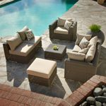 "AND THE WINNER IS.....CostCo Terra Vista 7-piece Seating Set $1799.99 until 7/6/14 Sunbrella fabric.1 Club Chair: 34"" D x 36.5"" W x 25.75"" H; 2 Corner Chairs: 34"" D x 34"" W x 25.75"" H; 2 Armless Chairs: 34"" D x 25.5"" W x 25.75"" H; 2 Ottomans: 25.25"" D x 25.25"" W x 18"" H; 7 reviews, 4.25 stars comfort, options, size, cushions slide, one person said it looks cheap."