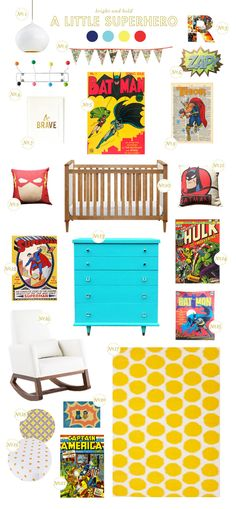 It's a bird.. It's a plane... It's Superman! Find out how to create this superhero nursery on Style Spotters: http://www.bhg.com/blogs/better-homes-and-gardens-style-blog/2013/06/19/get-the-look-a-little-superhero-nursery/?socsrc=bhgpin062113superhero