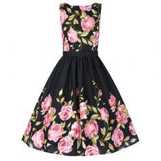 Audrey Pink Rose Border Dress   Vintage Style Dresses - Lindy Bop