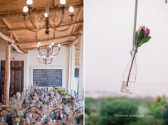 Hanging bottle with protea Real People, Storytelling, Wedding Ideas, Table Decorations, Bottle, Flowers, Photography, Home Decor, Photograph