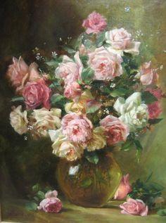 Bouquet de roses, signé Buffard 1912
